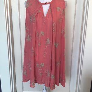 Umgee Coral Peach Floral Flowy Dress